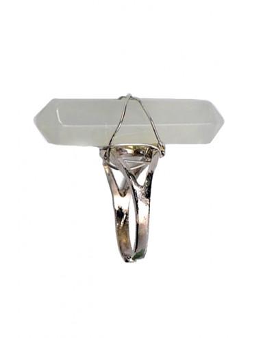 Inel elegant argintiu cu prisma din rasina colorata