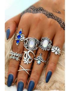 Set 9 inele etnice cu cristale colorate, nufar si floricele, inel in X