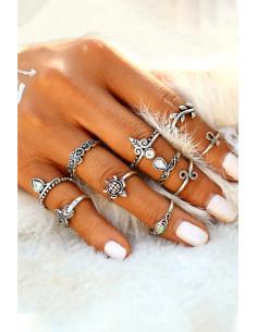 Set 10 inele boho argintii, cu stea de mare, testoasa, Ank si cristale