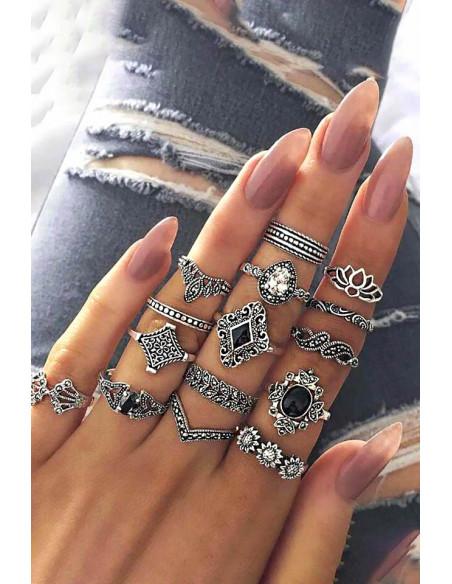 Set 15 inele boho argintii, cu flori, frunze si cristale albe si negre