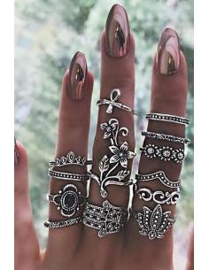 Set 12 inele boho argintii, Hamsa, flori, Ank si lotus
