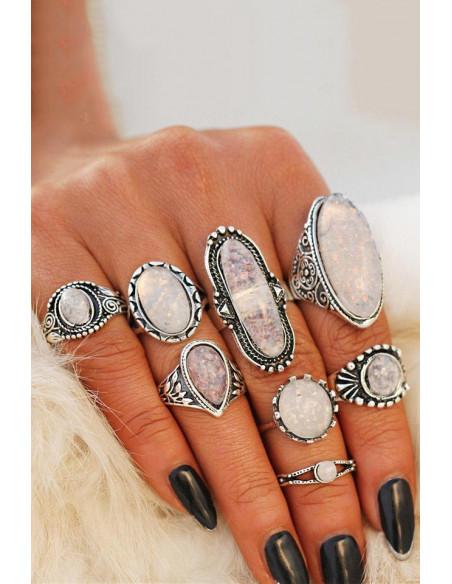 Set 8 inele indiene lungi, cu cristale opalescente pe fiecare inel