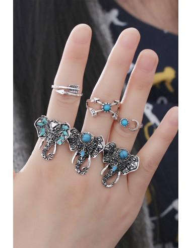 Set 6 inele cu motive indiene, trei elefanti cu sageti si inimioare