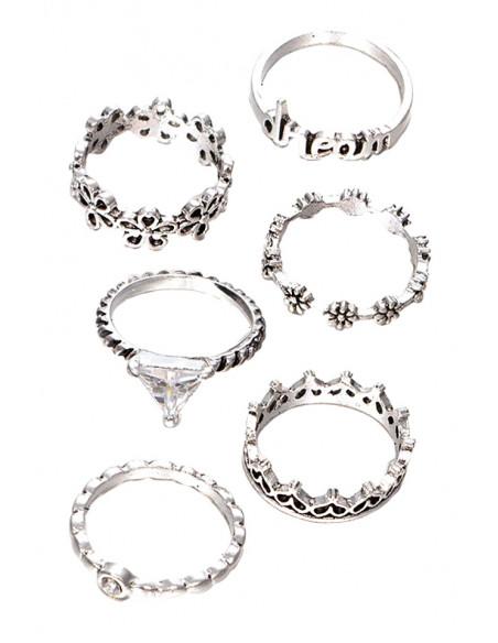 Set 6 inele patinate, subtiri, DREAM, cu flori, inimioare, cristale