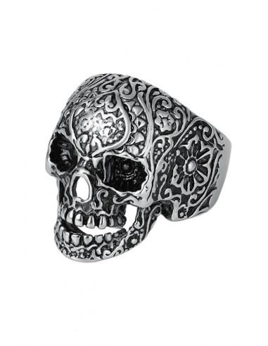 Inel punk craniu cu flori pe suprafata, model biker