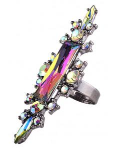Inel luxury Bewitched, cristal dreptunghiular cu cristale mici imprejur