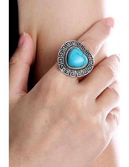 Inel cu inima turcoaz model etnic indian cu bordura geometrica
