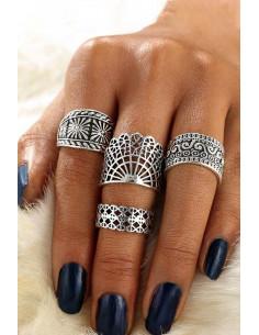Set 4 inele etnice, masive, model geometric decupat, romburi si spirale