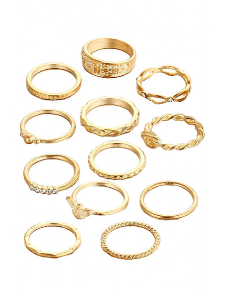 Set 12 inele subtiri, Aquila, modele variate, rasucite