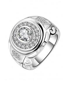 Inel placat cu argint, model masiv cu cristale de zirconie cubica
