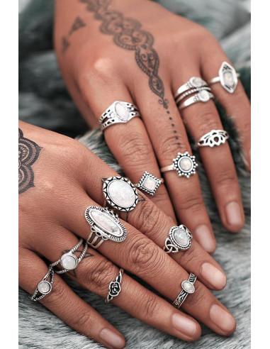 Set 13 inele boho cu cristale albe opalescente, lotus si trandafir mic