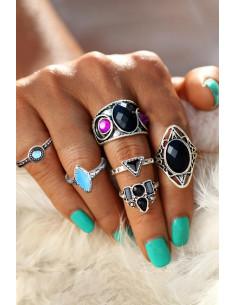 Set 6 inele indiene argintii cu cristale colorate late si coronita