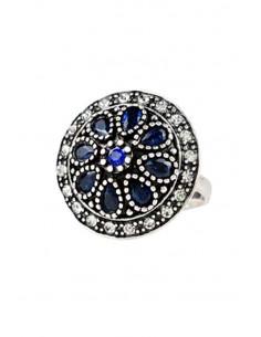 Inel vintage rotund, cristale albastre si bordura de cristale albe