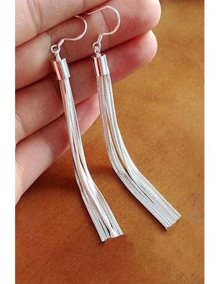 Cercei placati cu argint, cu franjuri din lantisor tip snur