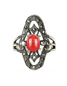 Inel vintage elegant, oval cu hematite, romburi si medalion in centru