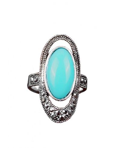 Inel vintage elegant, model oval cu hematite si piatra colorata
