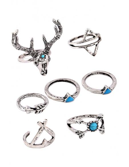 Set 7 inele indiene argintii subtiri, cu cerb si triunghiuri