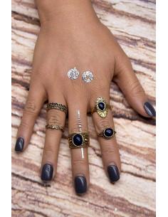 Set 5 inele argintii patinate, cu pietre negre si model in relief