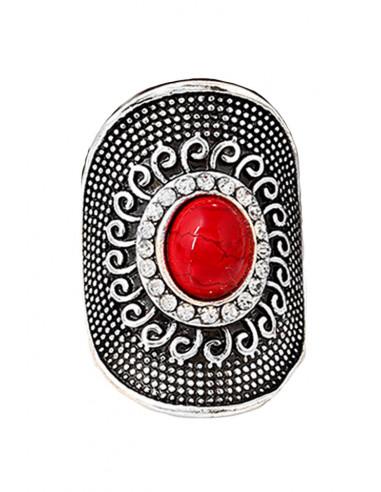 Inel etnic rotund, cu howlit, cristale si decoratiuni in relief