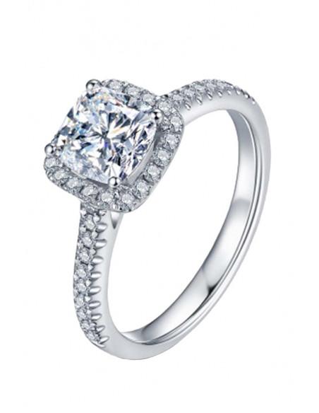 Inel de logodna patrat cu cristal mare central si cristale mici