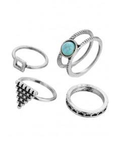 Set 4 inele indiene, cu motive etnice geometrice si piatra turcoaz