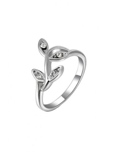 Inel argintiu cu cristale naturale, ramura delicata cu patru frunzulite