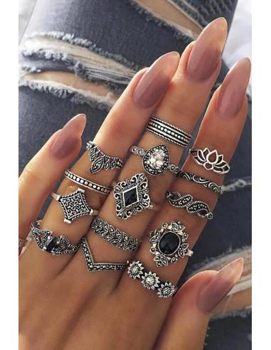 Set 13 inele boho cu cristale negre, ochi, elefanti, Hamsa, inima si floare