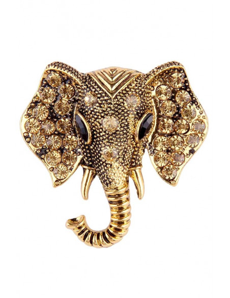 Brosa cap de elefant indian cu cristale pe urechi