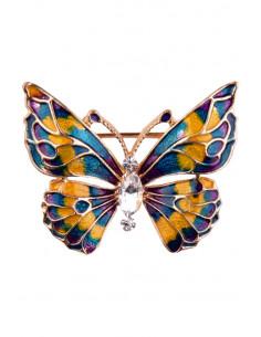 Brosa fluture multicolor vopsita manual verde/galben cu cristale