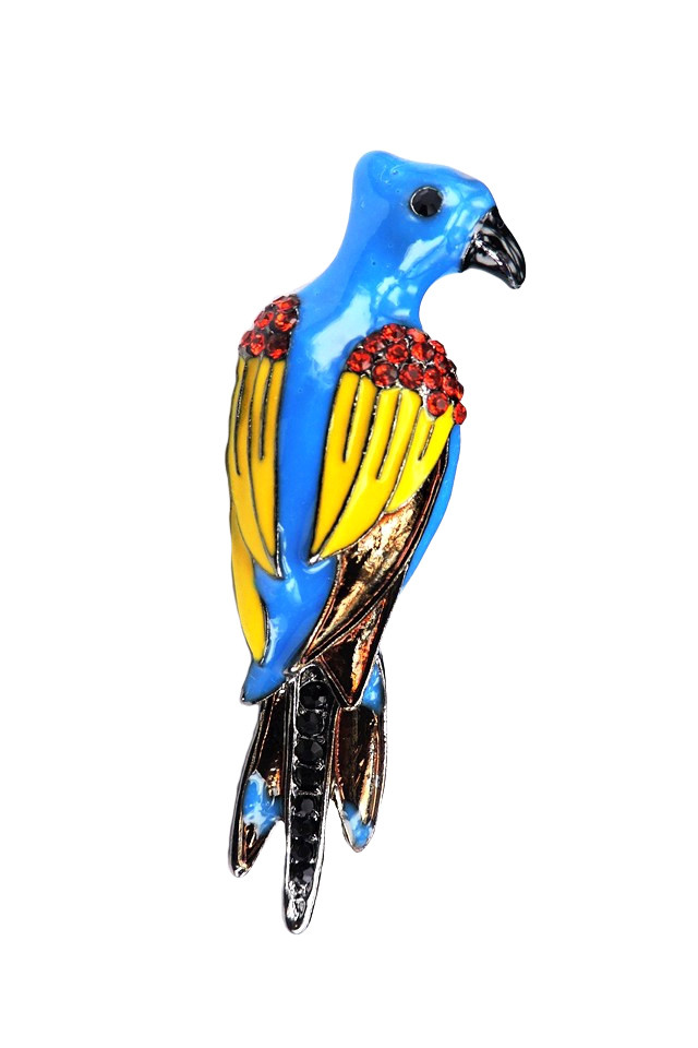 Pin papagal Macaw multicolor cu cristale, metalic, stil hipster