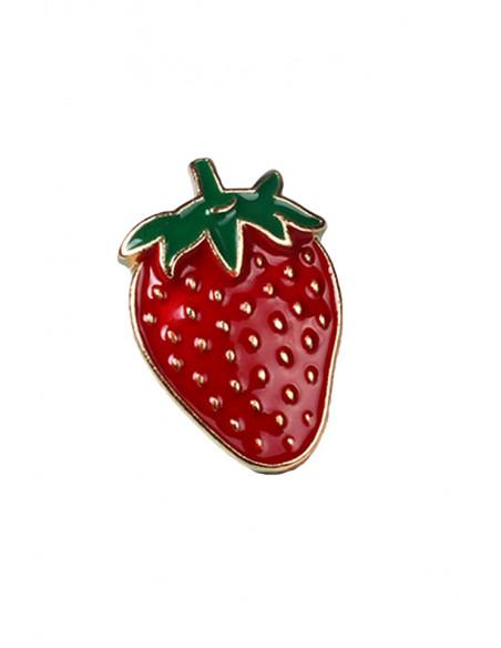 Pin capsuna rosie cu seminte, metal auriu, stil hipster
