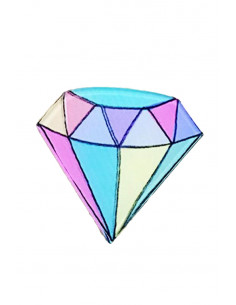 Pin fashion Diamond Girl, din plastic, multicolor, stil hipster