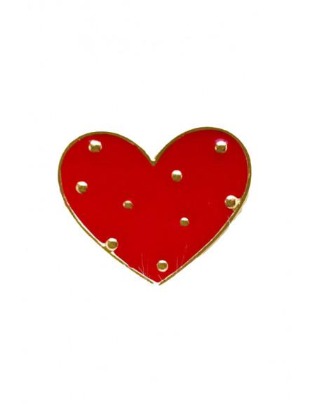 Pin inimioara rosie cu nituri, metal auriu, stil hipster