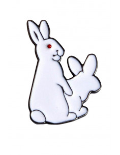 Pin iepurasi albi Humping Bunnies, metalic, stil hipster