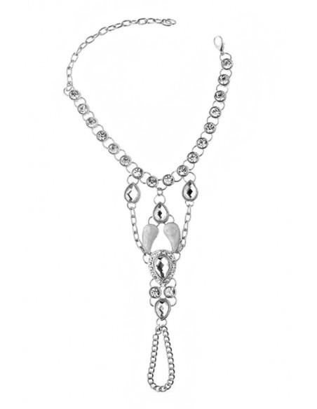 Bratara cu inel eleganta, cristale fatetate si medalioane cu email