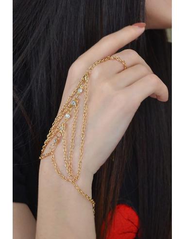 Bratara arabeasca cu inel simplu si sase cristale cu lanturi pe laterale