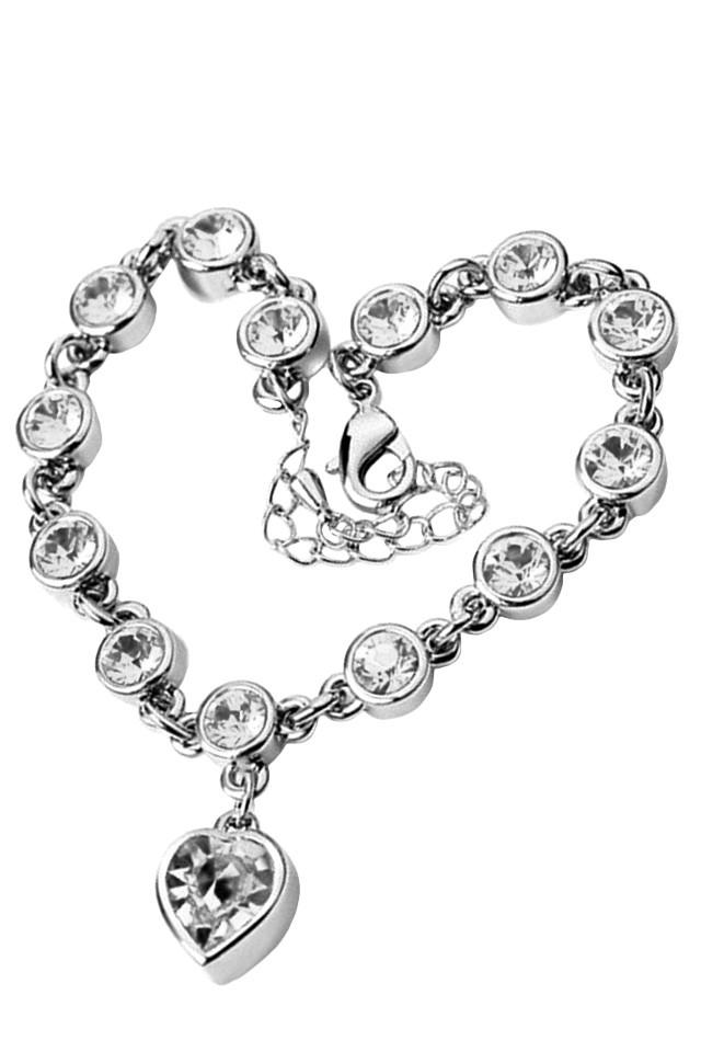 Bratara argintie cu cristale rotunde si inimioara