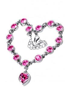 Bratara eleganta argintie cu inimioara si cristale rotunde