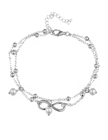 Bratara de glezna, din lanturi subtiri, cu perle albe si infinit