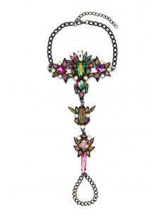 Bratara de picior cu inel, cristale ascutite verzi cu reflexii multicolore
