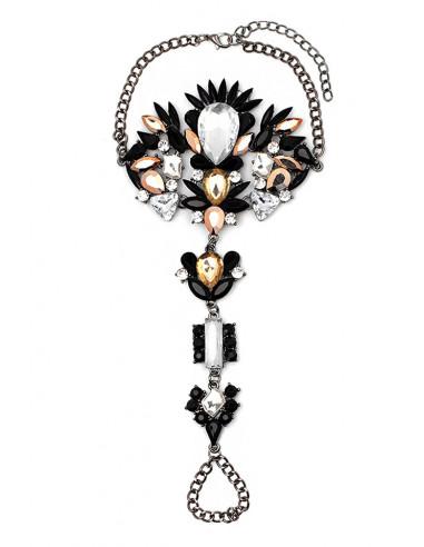 Bratara de picior cu inel, cristale mari negre, albe si galbene