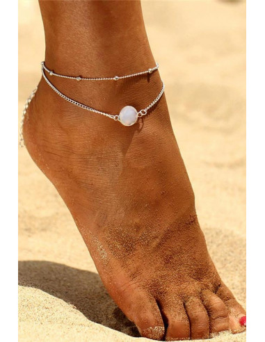 Bratara de glezna eleganta, lantisor dublu, bilute si cristal alb