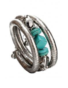 Bratara etnica tip spirala, din inele metalice, margele si cub turcoaz