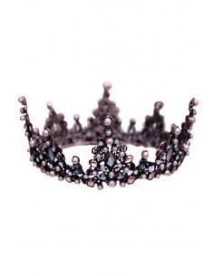 Coroana masiva aramie, Elizabeth, cristale albe, gri, maro si perle