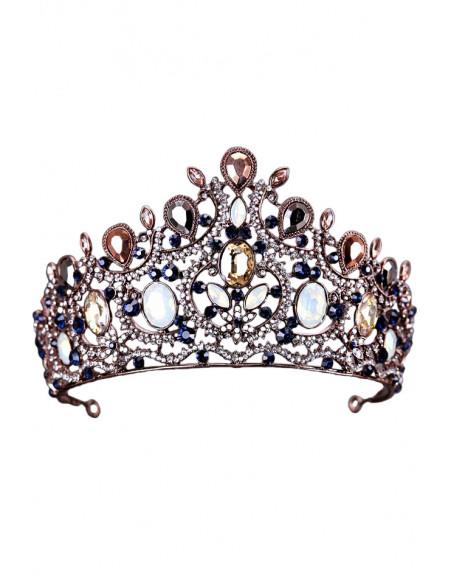 Tiara aramie, Queen Alexandra, cristale opalescente, gri si maro