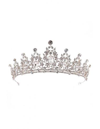 Tiara argintie Snow White, cu picaturi din cristale stralucitoare
