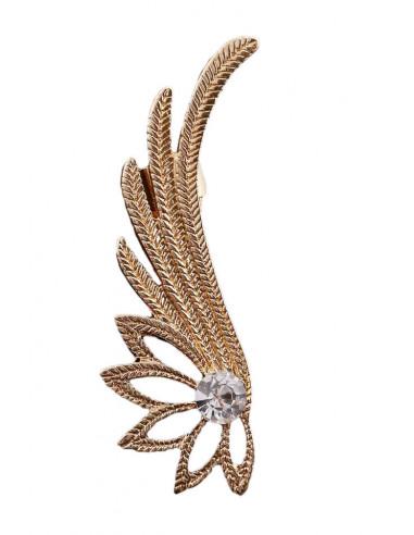 Cercel ear cuff floare de lotus cu petale lungi si cristal mare