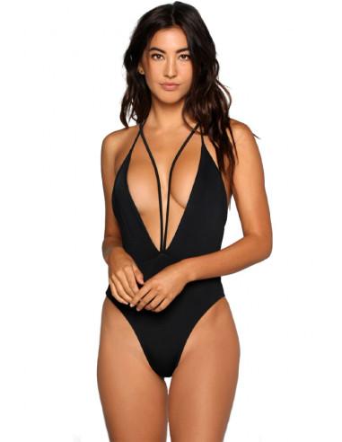 Costum de baie intreg negru, cupe triunghiulare si 2 randuri de bretele