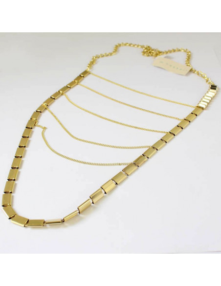 Colier statement din metal auriu cu lantisoare si cristale albe