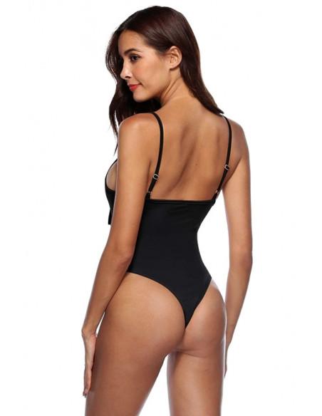 Costum de baie intreg, negru, cu funda, decupat pe abdomen